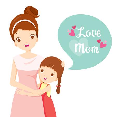 Daughter Hugging Her Mother, Mother's Day, Mother, Embracing, Hug, Daughter, Love, Children Illustration