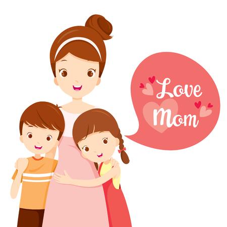 Zoon en dochter knuffelen hun moeder, Mother's Day, Moeder, Omhelzen, Hug, Broers en zussen, liefde, kinderen Stockfoto - 55425121