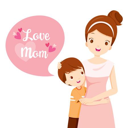 madre soltera: Hijo abraza a su madre, día de la madre, la madre, Abrazar, Abrazo, hijo, amor, niños Vectores