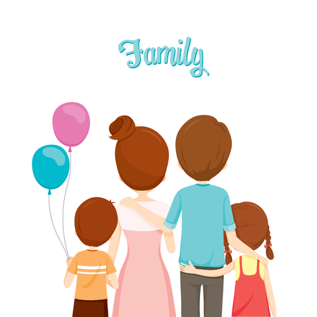 Happy Family Hugging Together, Family, Embracing, Hugging, Parent, Offspring, Love, Relationship Stock Illustratie