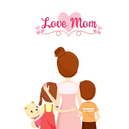 母、息子と娘を抱いて、一緒に抱きしめる、ハグ、親、家族、子孫、愛、関係