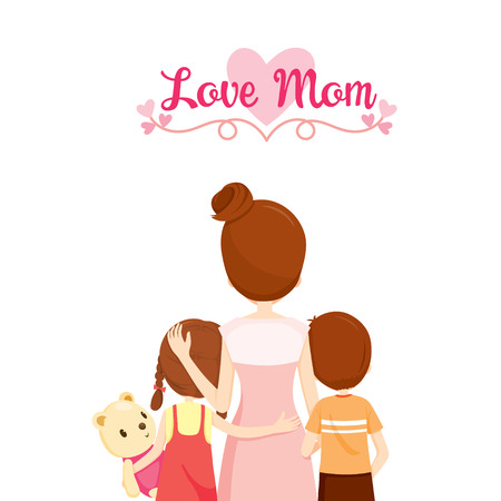 Mother, Son And Daughter Hugging Together, Family, Embracing, Hugging, Parent, Offspring, Love, Relationship Illustration