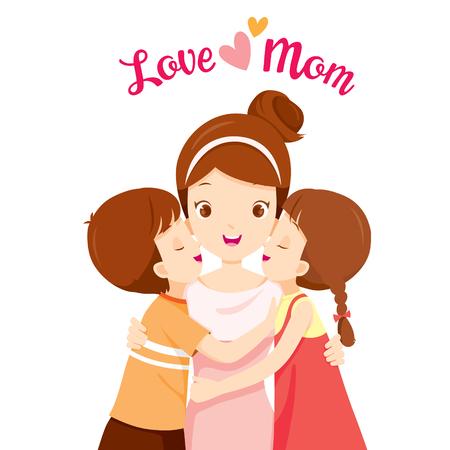 Hijo e hija abrazando a su madre y besándose en las mejillas, día de la madre, besándose, madre, mejillas, abrazándose, abrazo, amor, niños, hermanos Ilustración de vector