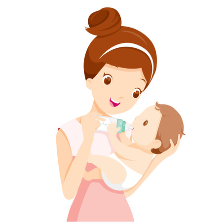 Mother Feeding Baby With Milk In Baby Bottle, Mother's day, Mother, Baby Bottle, Feeding, Sucking, Infant, Motherhood, Innocence Stock Vector - 55425127