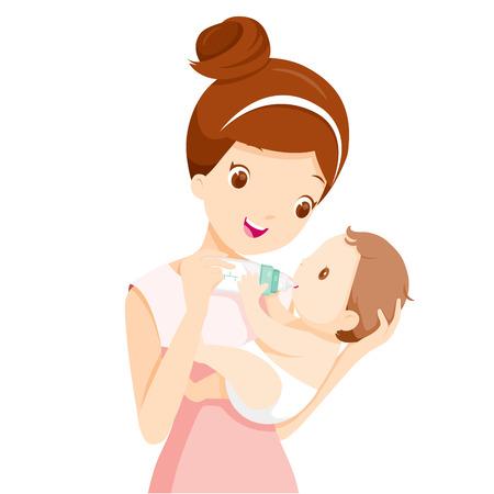 Mutter Fütterung Baby mit Milch in Babyflasche, der Tag der Mutter, Mutter, Baby-Flasche, Füttern, Saugen, Baby, Mutterschaft, Unschuld Standard-Bild - 55425127