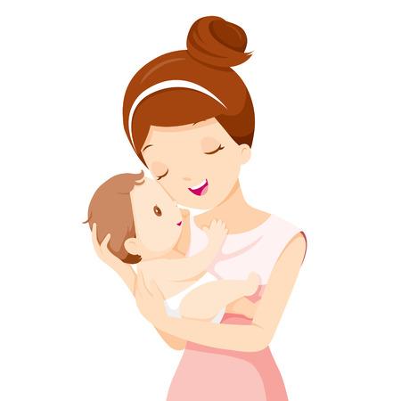 mamma e figlio: Bambino in un tenero abbraccio della madre, il giorno della mamma, madre, bambino, infante, maternità, Amore, Innocenza Vettoriali