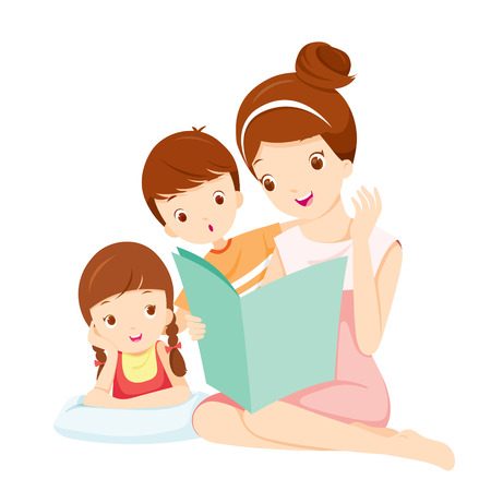 cartoon reading: Mother Reading Tale Book To Daughter And Son, Mother, Mothers Day, Children, Tale, Reading, Family, Relaxing