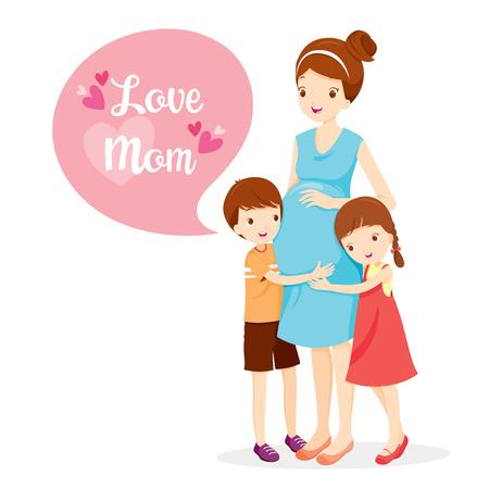 娘と息子の妊娠中の母親、妊婦、母親、抱きしめる、ハグ、母の日、子供、愛、家族を抱き締める  イラスト・ベクター素材