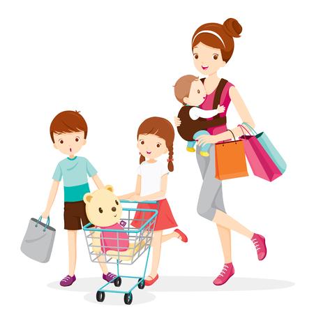 Madre y niños juntos de compras, Madre, compras, venta al por menor, Familia, Niño, cesta de la compra, carretilla de mano, carretilla, cesta de la compra