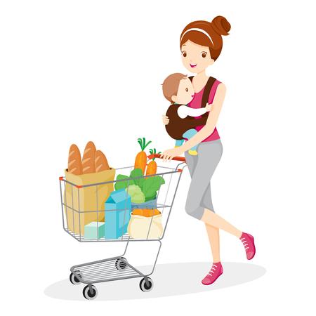 Madre porta bebé y empujar el carrito, Madre, compras, venta al por menor, bebé, carro de compras, carretilla de mano, carretilla Ilustración de vector