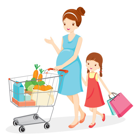 mujer en el supermercado: Mamá embarazada y su hija de compras juntos, embarazada, madre, Ir de compras, venta al por menor, Compras, Comprar, carretilla de mano, carretilla Vectores