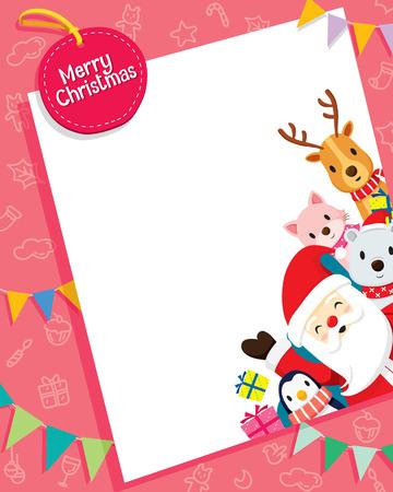 Kerstkaart Met Kerstman En Dieren, Merry Christmas, Kerstmis, Gelukkig Nieuwjaar, voorwerpen, dieren, feestelijk, Celebrations Stockfoto - 55425200