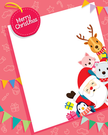 Christmas Card With Santa Claus And Animals, Merry Christmas, Xmas, Happy New Year, Objects, Animals, Festive, Celebrations