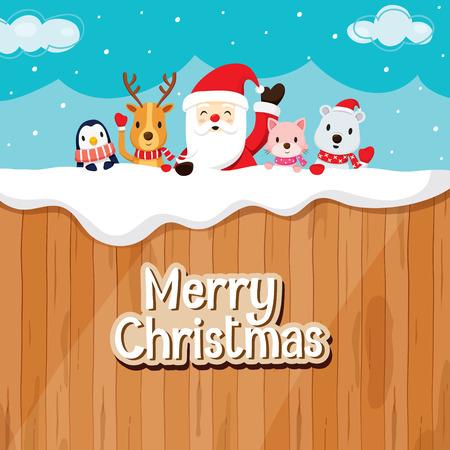 Santa Claus, los animales en la valla de madera, Feliz Navidad, Navidad, Feliz Año Nuevo, objetos, animales, fiestas, celebraciones Foto de archivo - 55425203