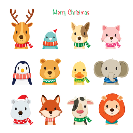 Animals Faces With Neckerchief Set, Merry Christmas, Xmas, Happy New Year, Objects, Animals, Festive, Celebrations Illustration