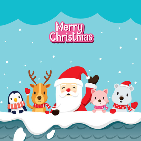 Santa Claus And Animals On Roof, Merry Christmas, Xmas, Happy New Year, Objects, Animals, Festive, Celebrations Ilustracja