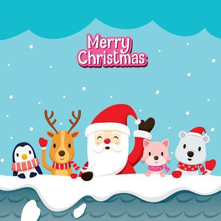 pinguinos navidenos: Santa Claus y animales en la azotea, Feliz Navidad, Navidad, Feliz Año Nuevo, objetos, animales, fiestas, celebraciones Vectores