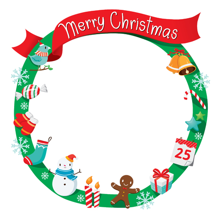 christmas objects: Christmas Wreath, Ornaments and Decoration, Merry Christmas, Xmas, Happy New Year, Objects, Animals, Festive, Celebrations