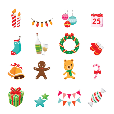 christmas icon: Christmas Ornaments Icons Set, Merry Christmas, Xmas, Happy New Year, Objects, Animals, Festive, Celebrations