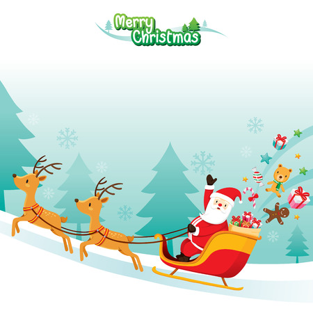 Xmas_Santa_Riding_Reindeer, Merry Christmas, Xmas, Happy New Year, Objects, Animals, Festive, Celebrations