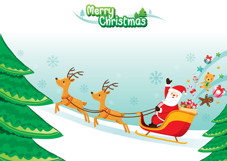 christmas objects: Santa Claus Riding On Sleigh, Merry Christmas, Xmas, Happy New Year, Objects, Animals, Festive, Celebrations