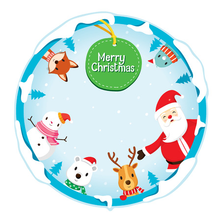 decoration objects: Christmas Ornaments On Circle Frame And Decoration, Merry Christmas, Xmas, Happy New Year, Objects, Animals, Festive, Celebrations