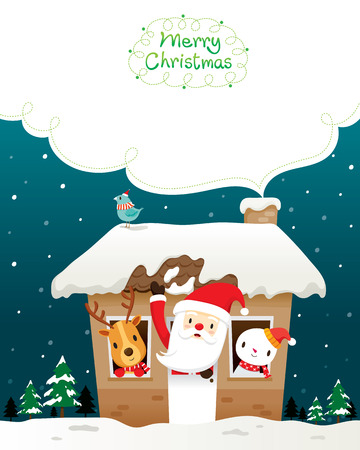 christmas objects: Santa Claus, Snowman And Animals In House, Merry Christmas, Xmas, Happy New Year, Objects, Animals, Festive, Celebrations