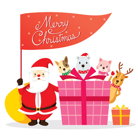 christmas objects: Santa Claus, Animals And Gift Box, Merry Christmas, Xmas, Happy New Year, Objects, Animals, Festive, Celebrations