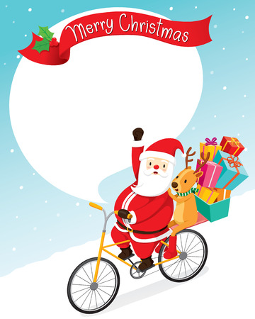 Santa Claus en bicicleta con una reno, Feliz Navidad, Navidad, Feliz Año Nuevo, objetos, animales, fiestas, celebraciones Foto de archivo - 55533121