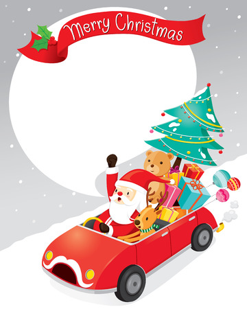 christmas objects: Santa Claus Driving Car With Reindeer, Christmas, Xmas, Happy New Year, Objects, Animals, Festive, Celebrations