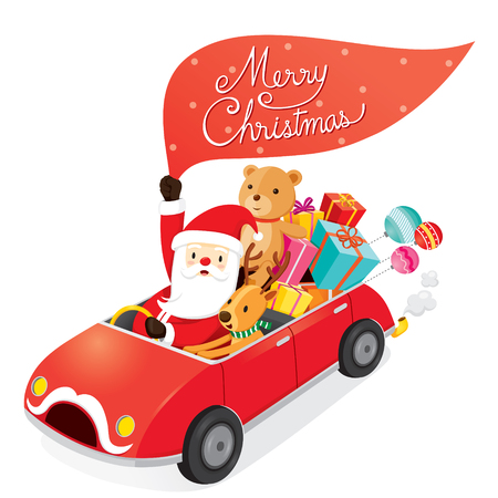 christmas characters: Santa Claus Driving Car With Reindeer, Merry Christmas, Xmas, Happy New Year, Objects, Animals, Festive, Celebrations Illustration