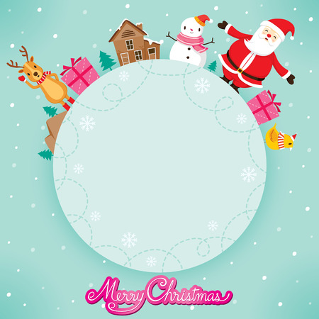 animals frame: Santa Claus, Snowman And Reindeer On Circle Frame, Merry Christmas, Xmas, Happy New Year, Objects, Animals, Festive, Celebrations
