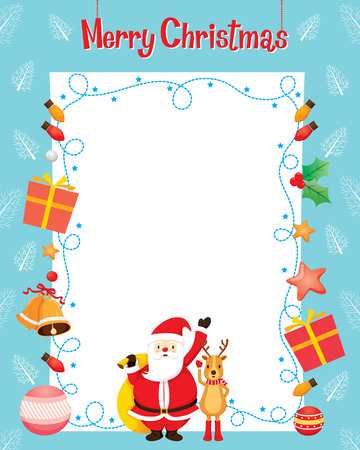 decoration objects: Santa And Reindeer With Christmas Ornaments Decoration Border, Merry Christmas, Xmas, Happy New Year, Objects, Animals, Festive, Celebrations