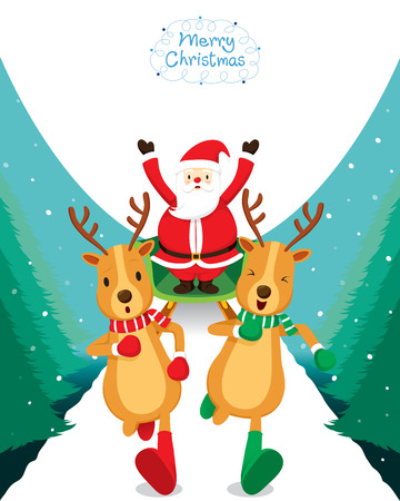 running reindeer: Reindeer Running With Santa Claus, Merry Christmas, Xmas, Happy New Year, Objects, Animals, Festive, Celebrations