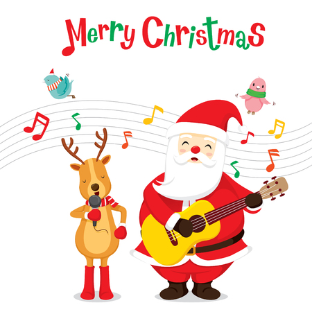 holiday music: Reindeer And Santa Claus Singing And Playing Guitar, Merry Christmas, Xmas, Happy New Year, Objects, Animals, Festive, Celebrations