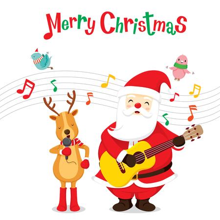 Renos y Santa Claus cantando y tocando la guitarra, Feliz Navidad, Navidad, Feliz Año Nuevo, objetos, animales, fiestas, celebraciones Foto de archivo - 55533145