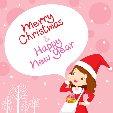pink christmas: Girl In Santa Costume Shouting, Pink Background, Happy New Year, New Years Eve, Merry Christmas, Xmas, Objects, Festive, Celebrations