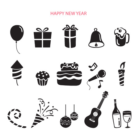 new year party: Party Decoration Icons Set, Monochrome, Happy New Year, New Years Eve, Merry Christmas, Xmas, Objects, Festive, Celebrations