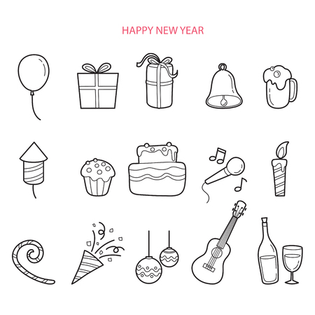 new year party: Party Decoration Outline Icons Set, Monochrome, Happy New Year, New Years Eve, Merry Christmas, Xmas, Objects, Festive, Celebrations