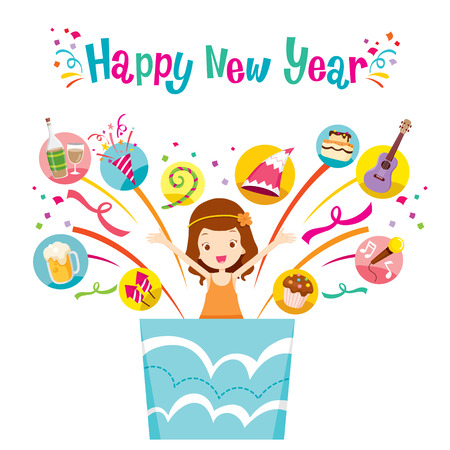 new year party: Girl In Gift Box With Party Objects Icons, Happy New Year, New Years Eve, Merry Christmas, Xmas, Objects, Festive, Celebrations