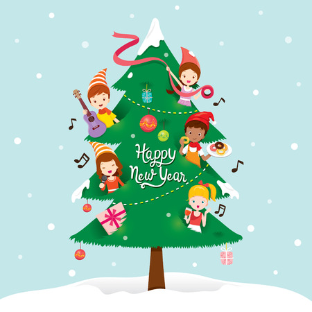 tree decorations: Children And Decorations On New Year Tree, Happy New Year, New Years Eve, Merry Christmas, Xmas, Objects, Festive, Celebrations