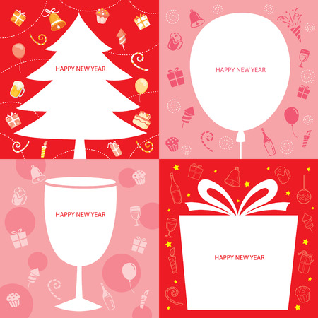 decoration objects: Party Decoration Icons Border Set, Happy New Year, New Years Eve, Merry Christmas, Xmas, Objects, Festive, Celebrations Illustration