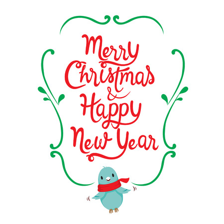 Merry Christmas Happy New Year Lettering Frame With Bird Flying