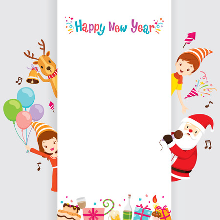 happy new years: Santa, Reindeer And Children With Banner, Happy New Year, New Years Eve, Merry Christmas, Xmas, Objects, Festive, Celebrations