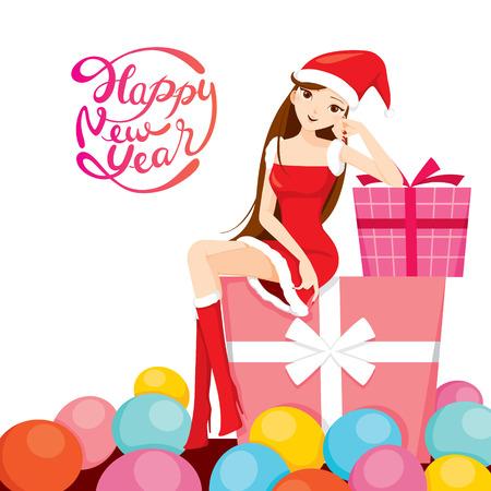 Sexy Woman A Santa Costume Assis Big Gift Box, Happy New Year, le Nouvel An, Joyeux Noël, Noël, des objets, des fêtes, célébrations