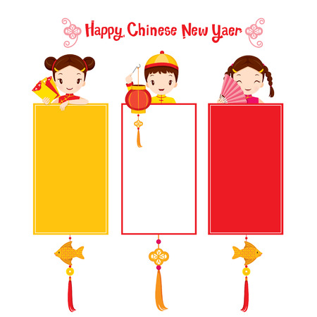 happy new year banner: Children With Chinese New Year Banner, Traditional Celebration, China, Happy Chinese New Year