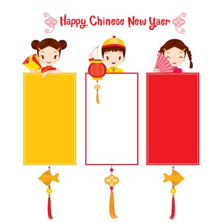 niños con pancarta: Niños con china del Año Nuevo Banner, Fiesta tradicional, China, Feliz año nuevo chino