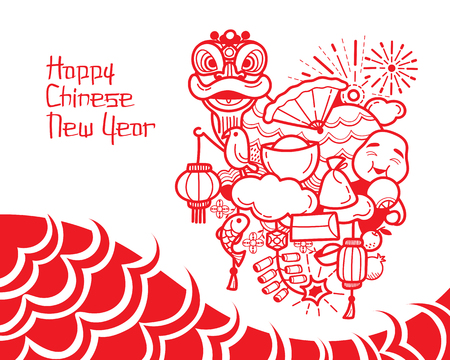 Chinese New Year Dekoration, Traditionelle Feier, China, Happy Chinese New Year Standard-Bild - 55686949