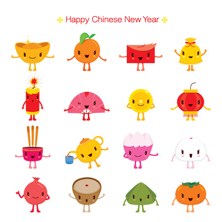chinese new year cute cartoon design elements traditional celebration china happy chinese new - Chinese New Year Traditions