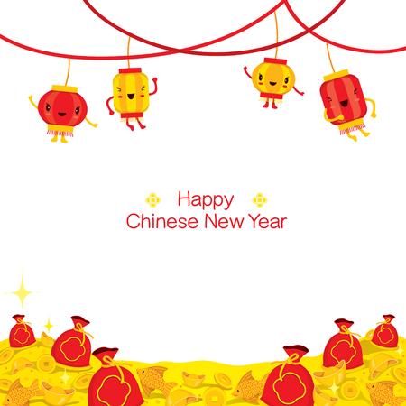prosperidad: Decorar Año Nuevo chino de la historieta linda para el cuadro y la celebración tradicional, China, Feliz año nuevo chino